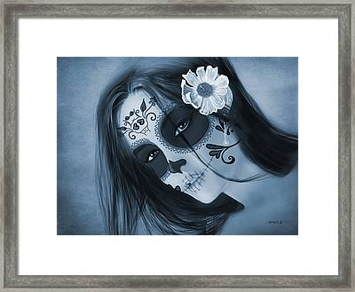 Luz Inmortal Day Of The Dead Sugar Skull Monochromatic  Framed Print by Maggie Terlecki