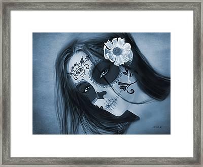 Luz Inmortal Day Of The Dead Sugar Skull Monochromatic  Framed Print
