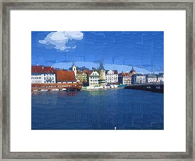 Luzern Lake Front Framed Print by Chuck Shafer