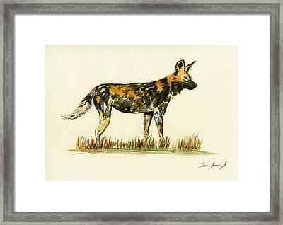 Lycaon Wild African Dog Framed Print by Juan  Bosco