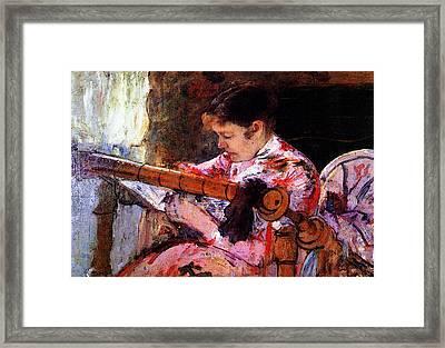 Lydia At The Tapestry Loom Framed Print by Mary Cassatt