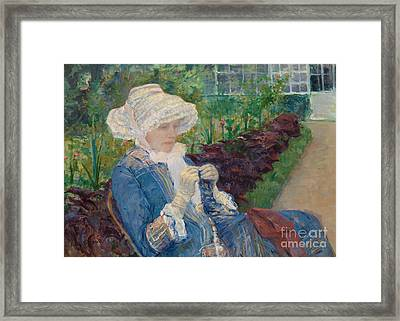 Lydia Crocheting In The Garden At Marly Framed Print by Mary Stevenson Cassatt