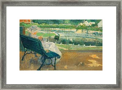 Lydia Seated On A Porch Crocheting Framed Print