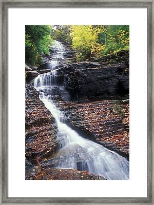 Lye Brook Falls Autumn Framed Print by John Burk