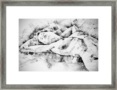 Lying Woman Figure Drawing Framed Print