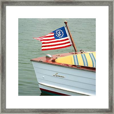 Vintage Mahogany Lyman Runabout Boat With Navy Flag Framed Print
