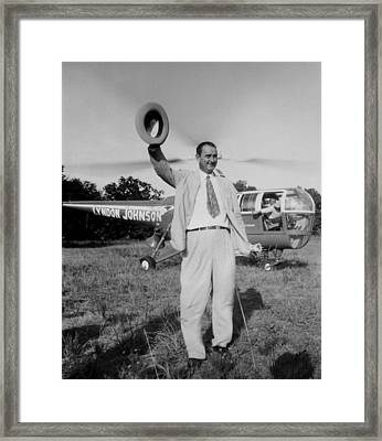 Lyndon Johnson Campaigning Framed Print by Everett