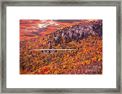 Lynn Cove Viaduct Blue Ridge Autumn Fire Sky Framed Print by Dan Carmichael