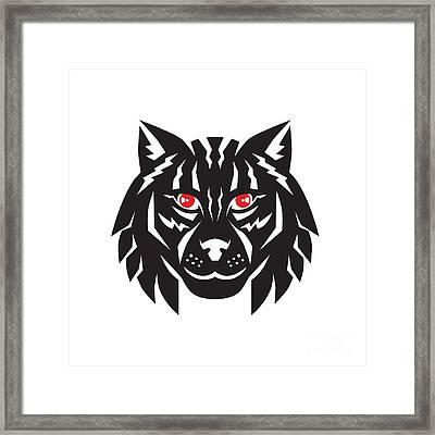 Lynx Cat Head Front Framed Print