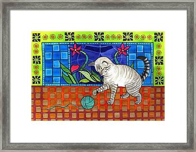 Lynx Point Kitten Smitten With Yarn Framed Print