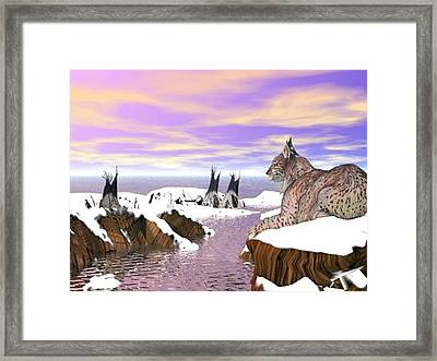 Lynx Watcher Render Framed Print