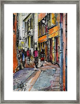 Lyon Cityscape - Street Scene #02 - Rue De Gadagne Framed Print by Mona Edulesco