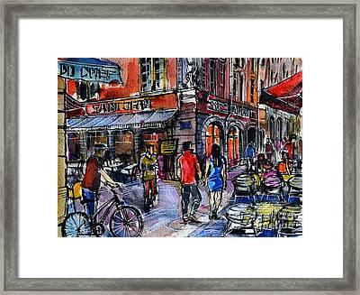Lyon Cityscape - Street Scene #03 - Rue Saint Jean Framed Print by Mona Edulesco
