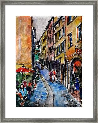 Lyon Cityscape - Street Scene #04 - Rue Du Boeuf Framed Print by Mona Edulesco