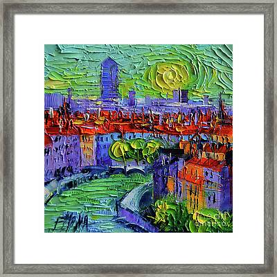 Lyon View At Sunrise - Palette Knife Oil Painting By Mona Edulesco  Framed Print