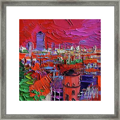 Lyon View In Pink Framed Print