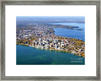 M-044 Madison Wisconsin Fall Monona Terrace Capitol West To Uw Framed Print