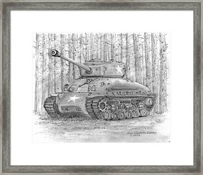 Framed Print featuring the drawing M-4 Sherman Tank by Jim Hubbard