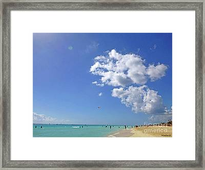 Framed Print featuring the digital art M Day At The Beach 2 by Francesca Mackenney