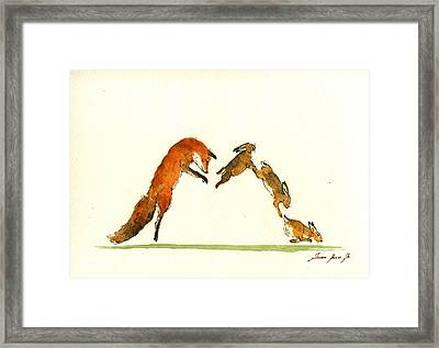 M Letter Woodland Animals Framed Print by Juan  Bosco