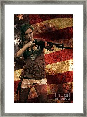 M1 Carbine On American Flag Framed Print