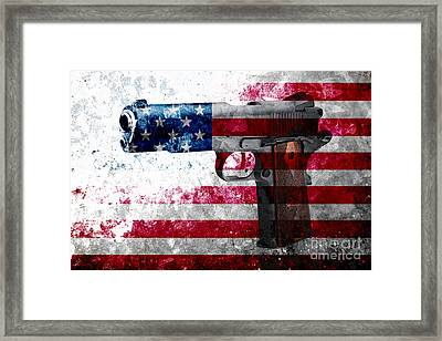 M1911 Colt 45 And American Flag On Distressed Metal Sheet Framed Print