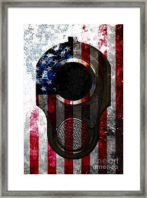 M1911 Colt 45 Muzzle And American Flag On Distressed Metal Sheet Framed Print