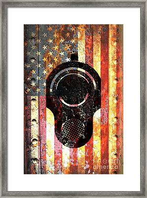 M1911 Colt 45 On Rusted American Flag Framed Print