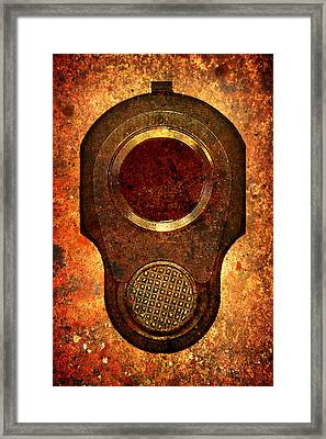M1911 Muzzle On Rusted Background Framed Print