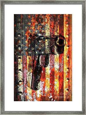 M1911 Silhouette On Rusted American Flag Framed Print