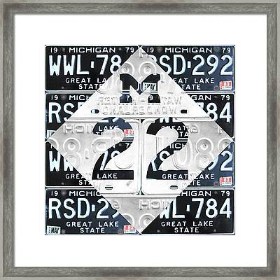M22 Michigan Highway Symbol Recycled Vintage Great Lakes State License Plate Logo Art Framed Print