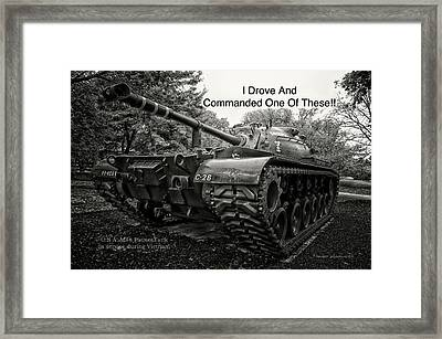 M48 Patton Tank Front View Custom Text Framed Print by Thomas Woolworth