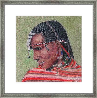 Maasai Warrior II -- Portrait Of African Tribal Man Framed Print