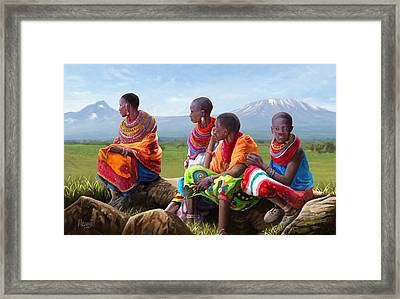 Framed Print featuring the painting Maasai Women by Anthony Mwangi