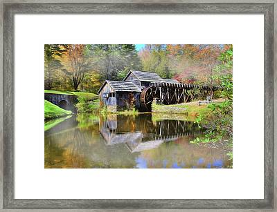 Framed Print featuring the digital art Mabry Grist Mill by Sharon Batdorf