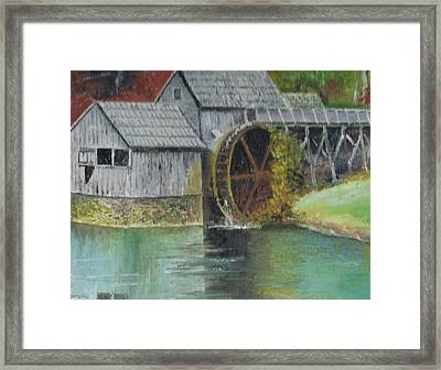 Mabry Mill In Virginia Usa Close Up View Of Painting Framed Print by Anne-Elizabeth Whiteway