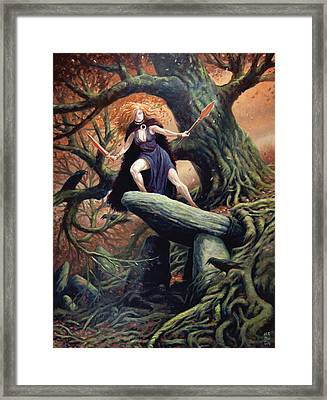 Macha The Irish Goddess Of War Framed Print by Jeremy McHugh