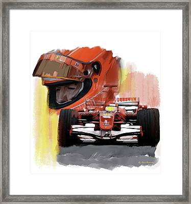 Framed Print featuring the painting Macher  Michael Schumacher by Iconic Images Art Gallery David Pucciarelli