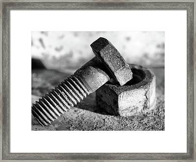 Framed Print featuring the photograph machine bolt No.2 by Tom Druin