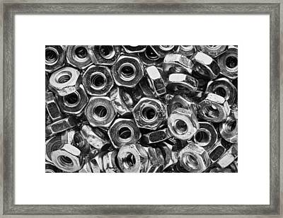 Machine Screw Nuts Macro Horizontal Framed Print by Steve Gadomski