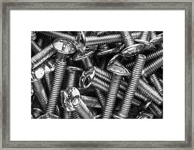 Machine Screws Macro Still Life Framed Print by Steve Gadomski