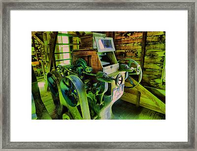 Machinery In An Old Grist Mill Framed Print