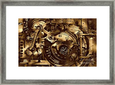 Clock Machinery Framed Print by Victor Arriaga