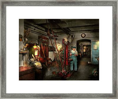 Framed Print featuring the photograph Machinist - Government Approved 1919 by Mike Savad