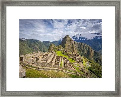 Framed Print featuring the photograph Machu Picchu Peru by Gary Gillette