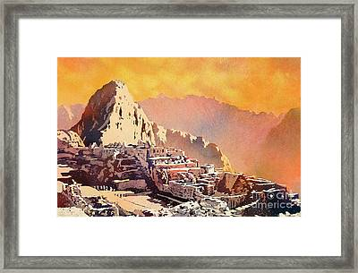 Framed Print featuring the painting Machu Picchu Sunset by Ryan Fox