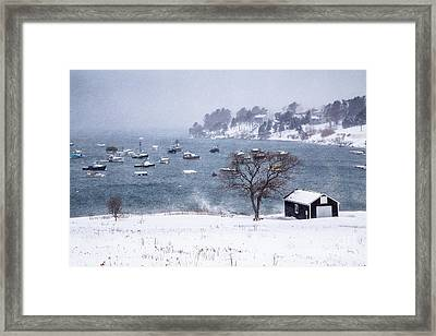 Mackerel Cove Snow Framed Print by Benjamin Williamson