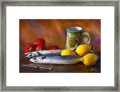 Mackerels, Lemons And Tomatoes Framed Print