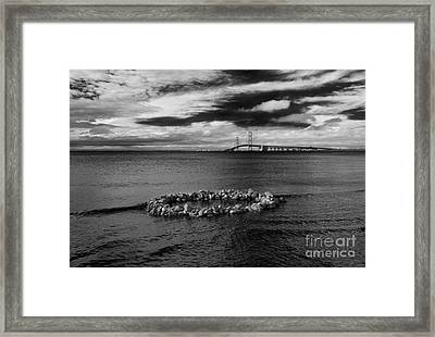 Mackinac Bridge - Infrared 03 Framed Print