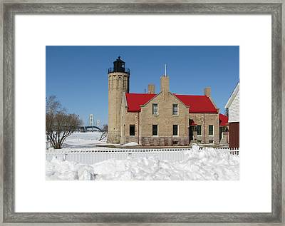 Mackinac Bridge And Light Framed Print by Keith Stokes